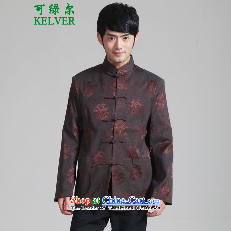To Green, Stylish new products in the spring of older Men's Mock-Neck Shirt father replacing leisure single row detained Tang jackets聽- 1 2XL