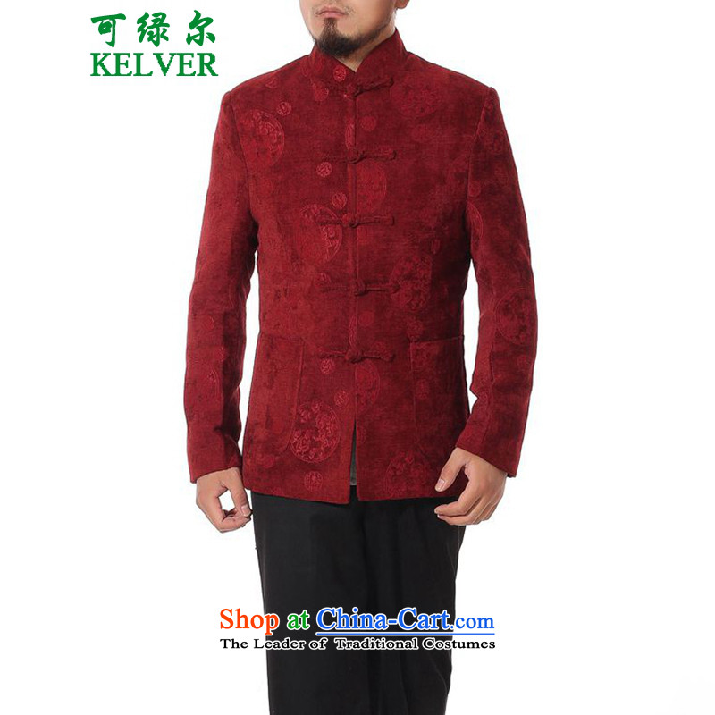 To Green, Stylish new products in the spring of elderly father loaded collar Tang jackets?- 1 2XL