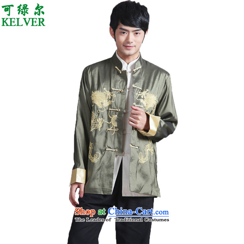To Green, Stylish new products in the spring of older men loaded collar embroidery father Tang jackets?- 2 XL