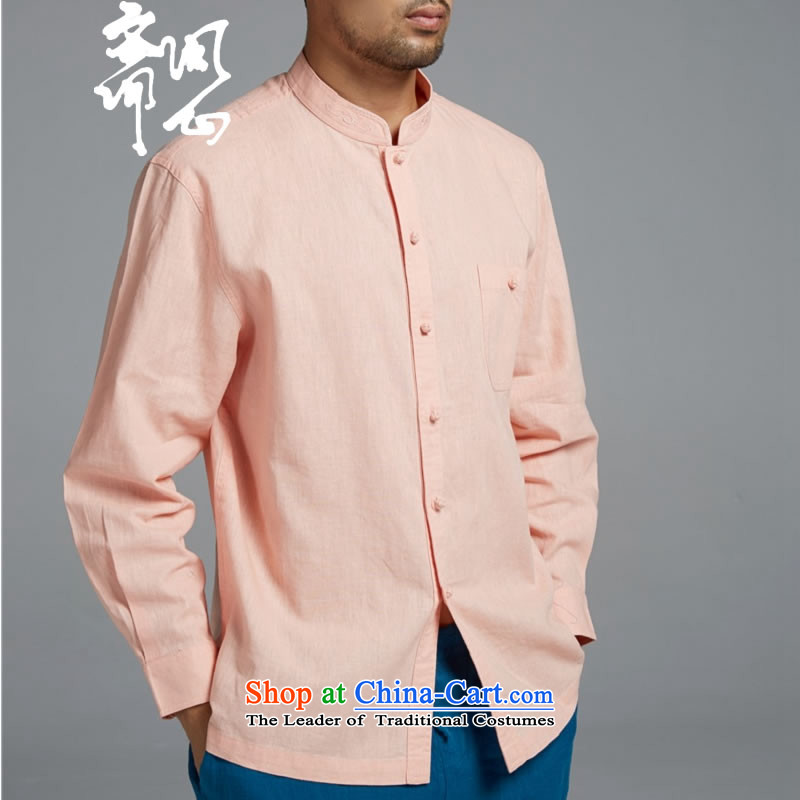 Q Shinsaibashi represented a health (men's spring new cotton linen Chinese long sleeved shirt Mock-Neck Shirt WXZ1552 embroidery pink?XL