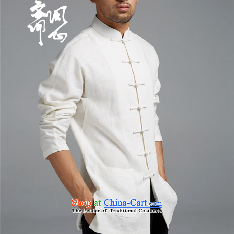 Q Shinsaibashi represented a health _men's Spring New Men Chinese Disc clip cotton linen tunic WXZ1549 Sau San shirts white聽L