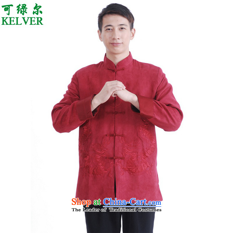 Can Green won version autumn and winter trendy new products. The elderly father loaded collar casual jacket color photo of Tang聽2XL