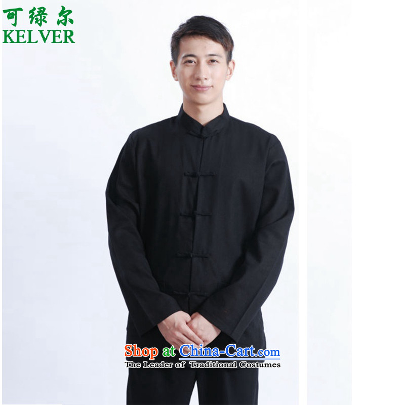 Can Green in older men spring fashion new products with collar leisure father cotton linen Tang jackets D - 1 black聽M _2352_
