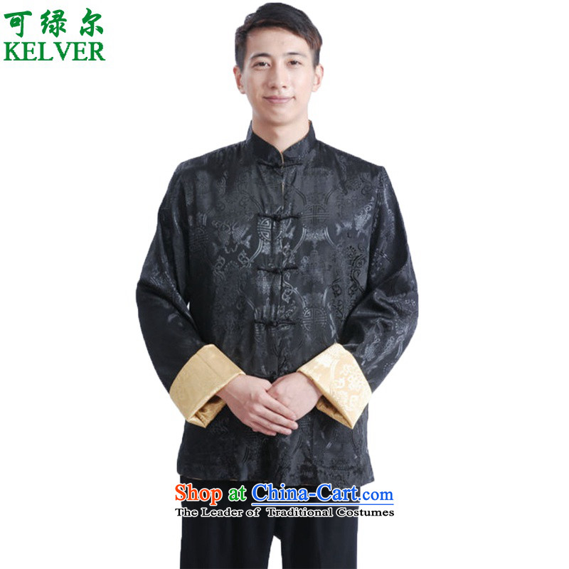 To Green, Stylish new products in the spring of elderly father loaded collar leisure reversible jacket color photo of Tang聽2XL