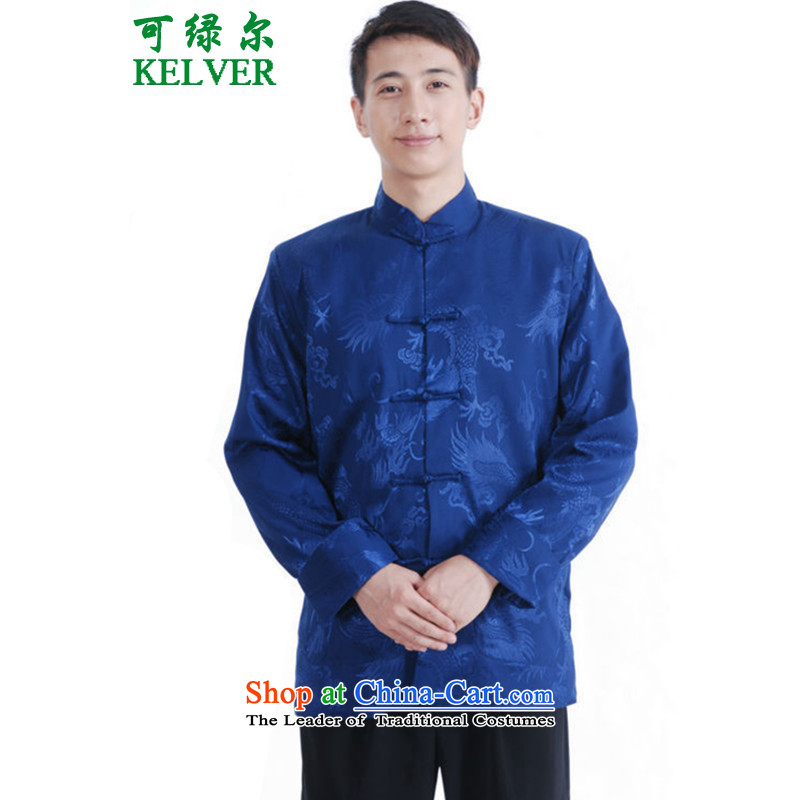 Can Green, older men, autumn and winter trendy new products with father Mock-neck Jacquard Tang Dynasty Chinese tunic picture color M