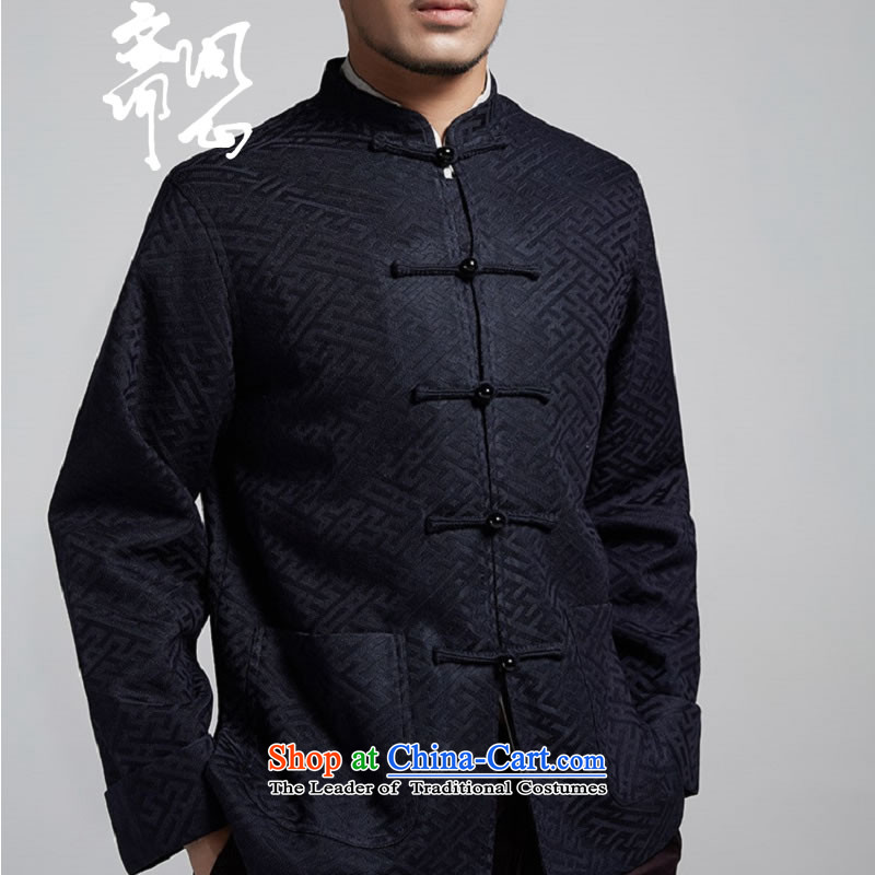 Q Shinsaibashi represented a health (men's new Chinese Disc winter detained collar jacket silk shirt WXZ1507 jacquard dark blue�XXXXL 185/104