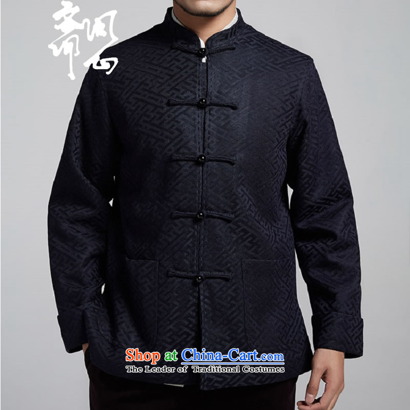 Q Shinsaibashi represented a health (men's new Chinese Disc winter detained collar jacket silk shirt WXZ1507 jacquard dark blue XXXXL 185/104, q heart of Ramadan , , , shopping on the Internet