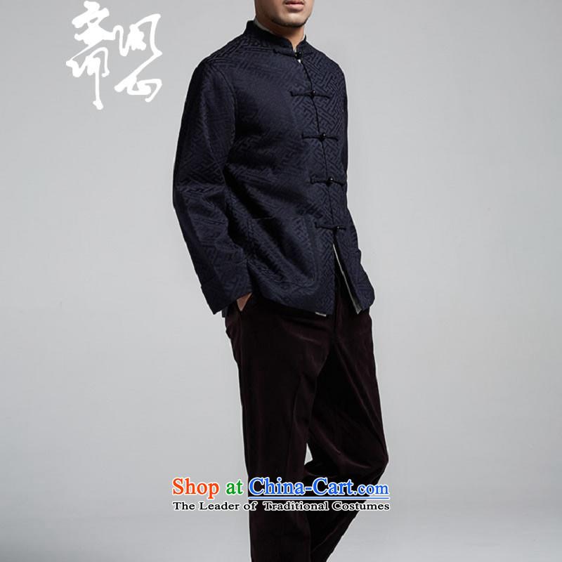 Q Shinsaibashi represented a health (men's new Chinese Disc winter detained collar jacket silk shirt WXZ1507 jacquard dark blueXXXXL 185/104, q heart of Ramadan , , , shopping on the Internet