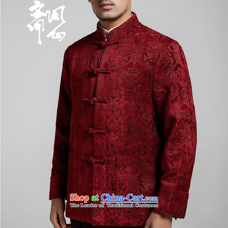 Q Shinsaibashi represented a health (men of autumn and winter new Chinese jacquard shirt China Wind Jacket WXZ1503 XXXL wine red 185/104, asked Shinsaibashi represented shopping on the Internet has been pressed.