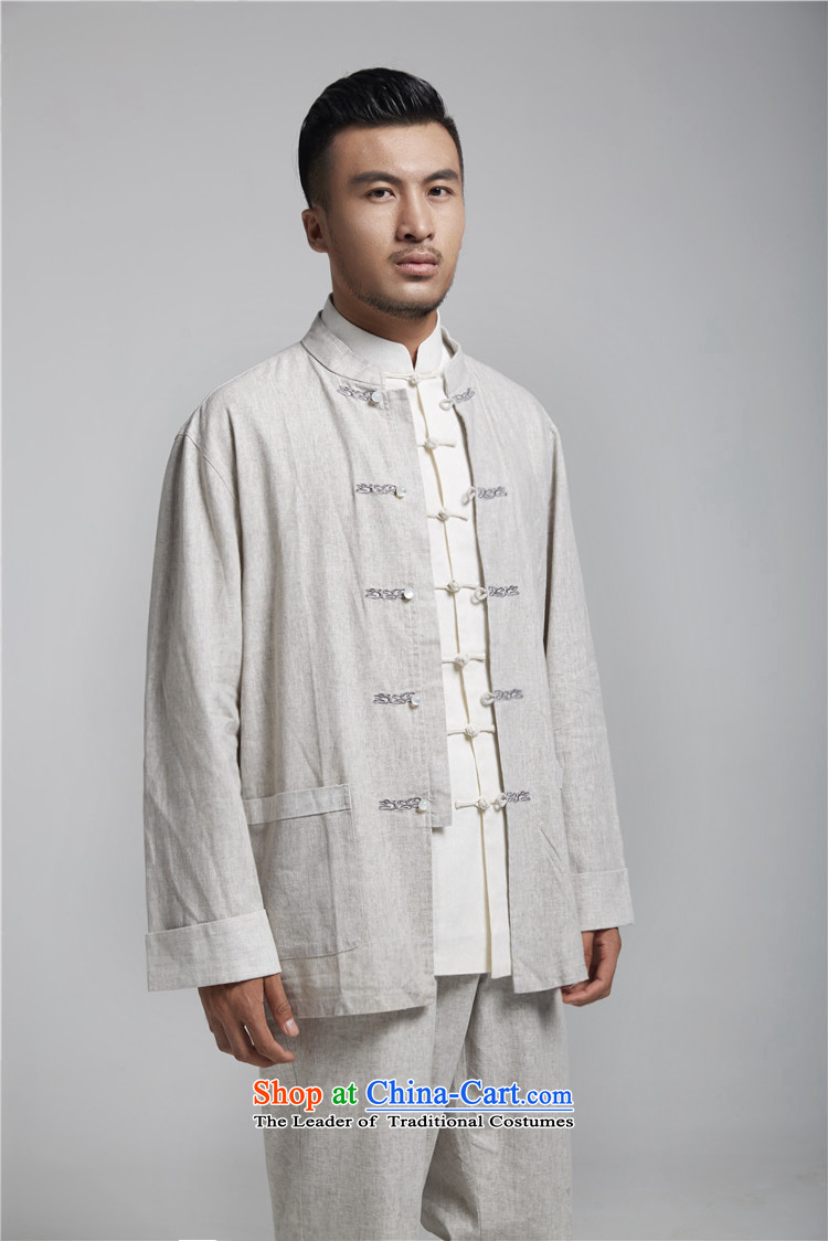 Q Shinsaibashi represented a health (men's Spring New China wind up the clip linen Chinese tunic embroidery Tang dynasty WXZ1494 light gray XL 175/96 picture, prices, brand platters! The elections are supplied in the national character of distribution, so action, buy now enjoy more preferential! As soon as possible.