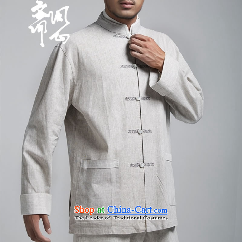 Q Shinsaibashi represented a health _men's Spring New China wind up the clip linen Chinese tunic embroidery Tang dynasty WXZ1494 light gray聽XL 175_96