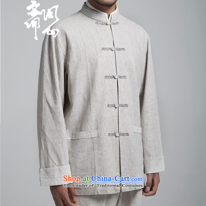 Q Shinsaibashi represented a health (men's Spring New China wind up the clip linen Chinese tunic embroidery Tang dynasty WXZ1494 light gray XL 175/96, q heart of Ramadan , , , shopping on the Internet