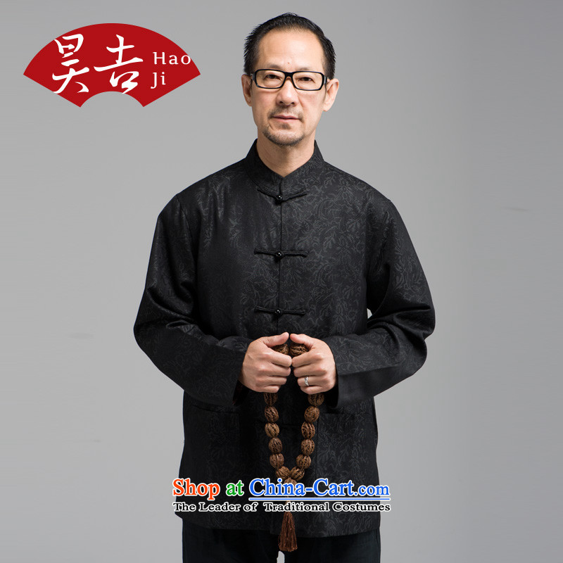 Ho Chi Chiu New) older men long-sleeved shirt with tie-tang father Father replacing Chinese national costumes black 2XL