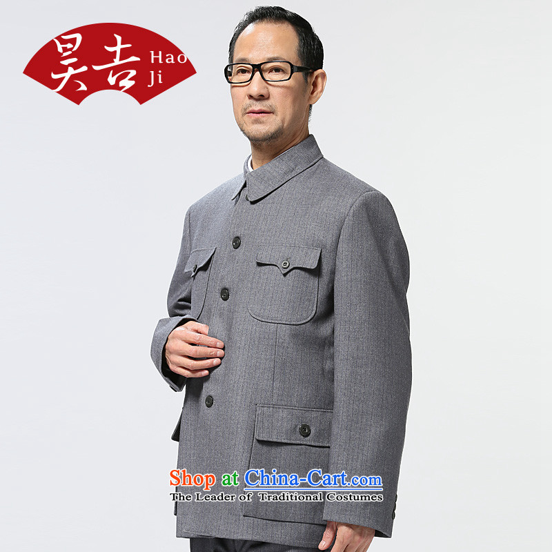 The Annual Autumn in old age, men's Chinese tunic kit older persons serving a father jacket pants Zhong Shan Tang dynasty聽72_170_ Light Gray