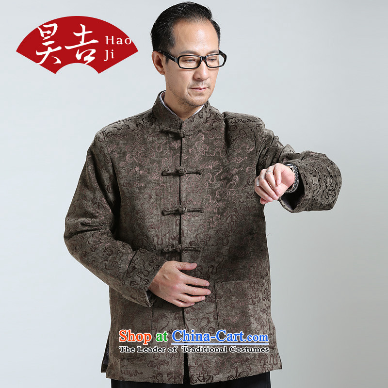 Ho auspicious cloud birthday fall 2014 new) older men long-sleeved shirt Chinese Tang dynasty older persons jacket brown XL