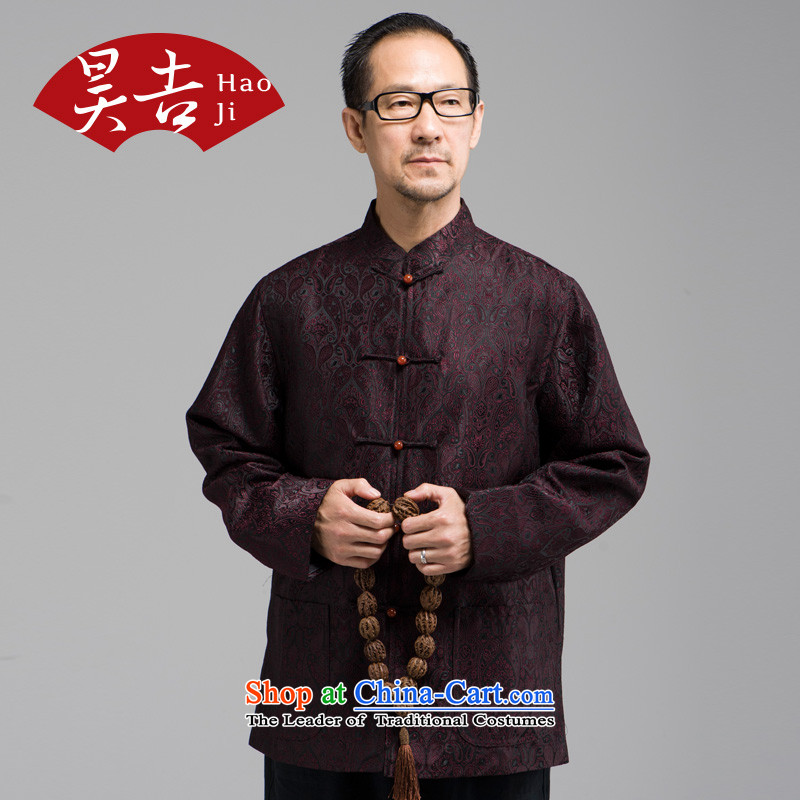 Ho Chi silk jacquard autumn new) older men long-sleeved Tang Dynasty Han-elderly jacket disc buttoned, Red�4XL