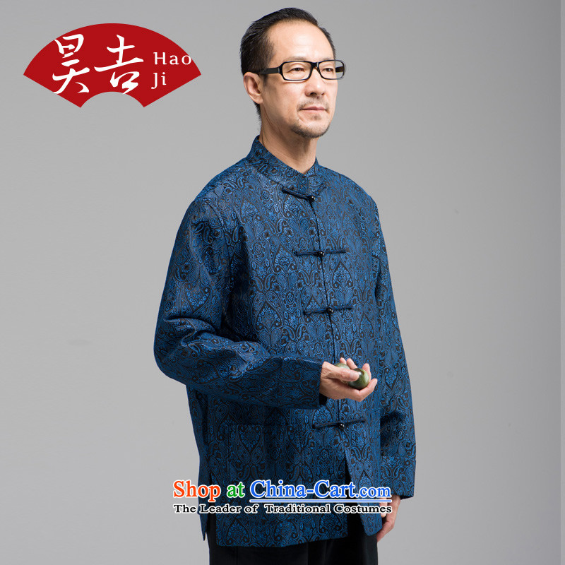 Ho Chi silk jacquard autumn new) older men long-sleeved Tang Dynasty Han-elderly jacket disc buttoned, Red聽4XL, Ho ji.... shopping on the Internet