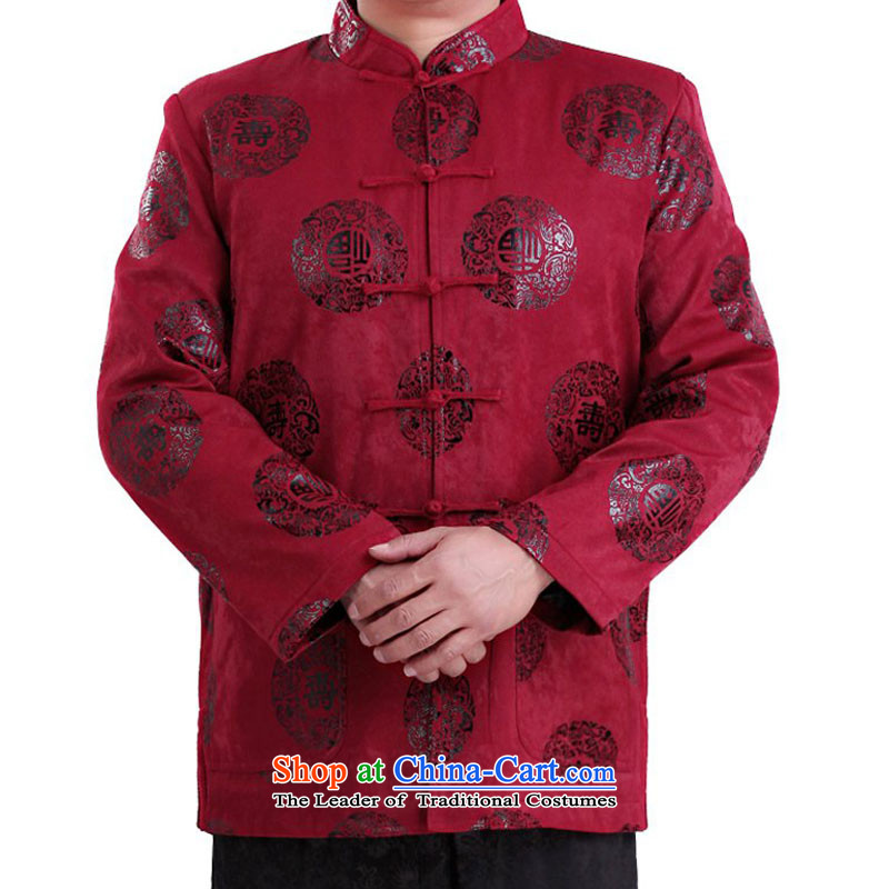 Thre line men and the spring and fall satin stamp Tang Gown of ethnic Chinese in the collar is detained older fu shou Tang jackets聽F1337聽red autumn聽XXL_185_
