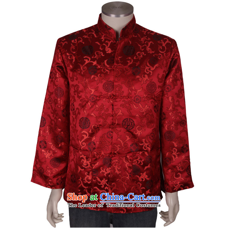 Bosnia and the elderly in the line thre new taxi couples with men and women from the spring and autumn Mock-neck Chinese Birthday golden marriage long-sleeved Tang Dynasty Mom and Dad Tang jackets F1366 men?XL_180 red