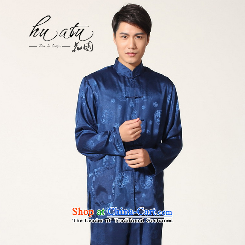 Figure autumn flowers with Men's Mock-Neck Tang Dynasty Chinese men Tai Chi Kung Fu long-sleeved cardigan service kit -B on cyan XXL