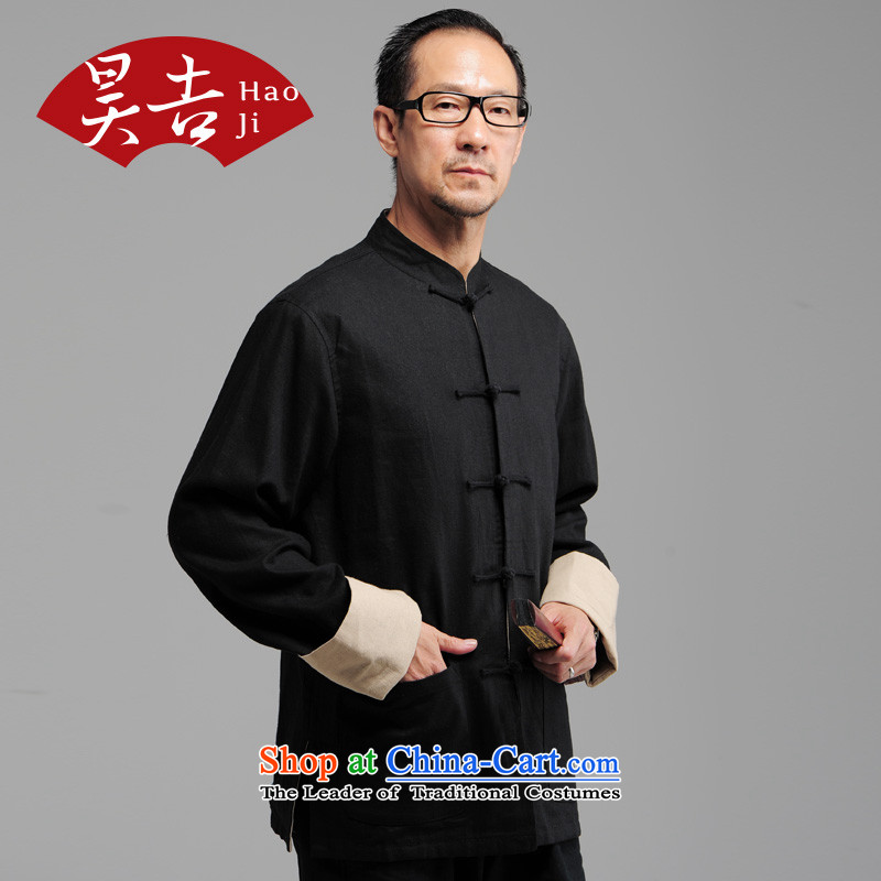 Ho Chi reversible fall inside the old folk weave in older men cotton linen long-sleeved Tang Gown of older persons detained jacket coat disk Black XL