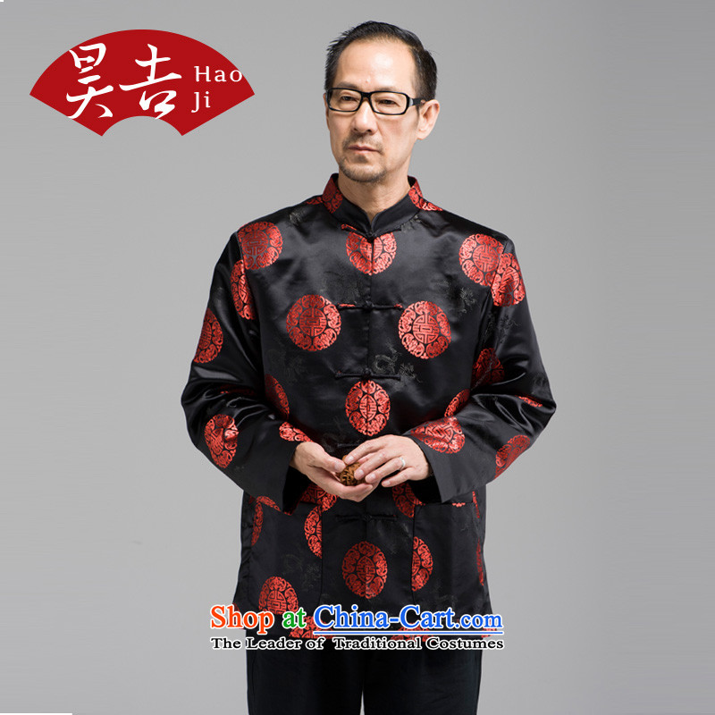 Ho Yen-gil tattoo tatsuaki older men in long-sleeved Tang Gown of older persons China wind collar tray clip black jacket?2XL