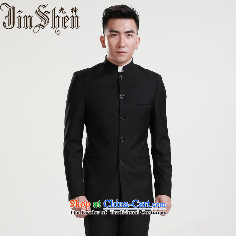 9 2015 New Clifford Chance suits men suit male suite Sau San collar suit suits China wind Chinese Young Men's Mock-Neck Chinese tunic Tang dynasty the bridegroom gift Black聽XL