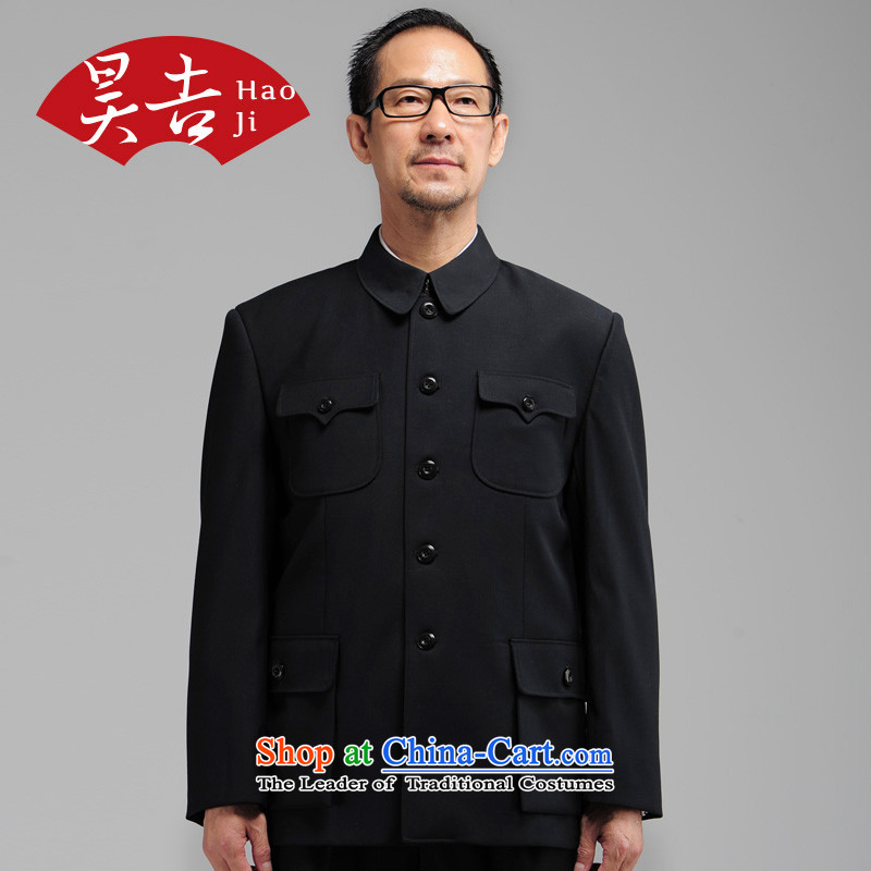 Ho Chi autumn and winter new elderly men black Chinese tunic kit older persons serving his father Father Load Zhong Shan Tang-pack Black聽76_180_