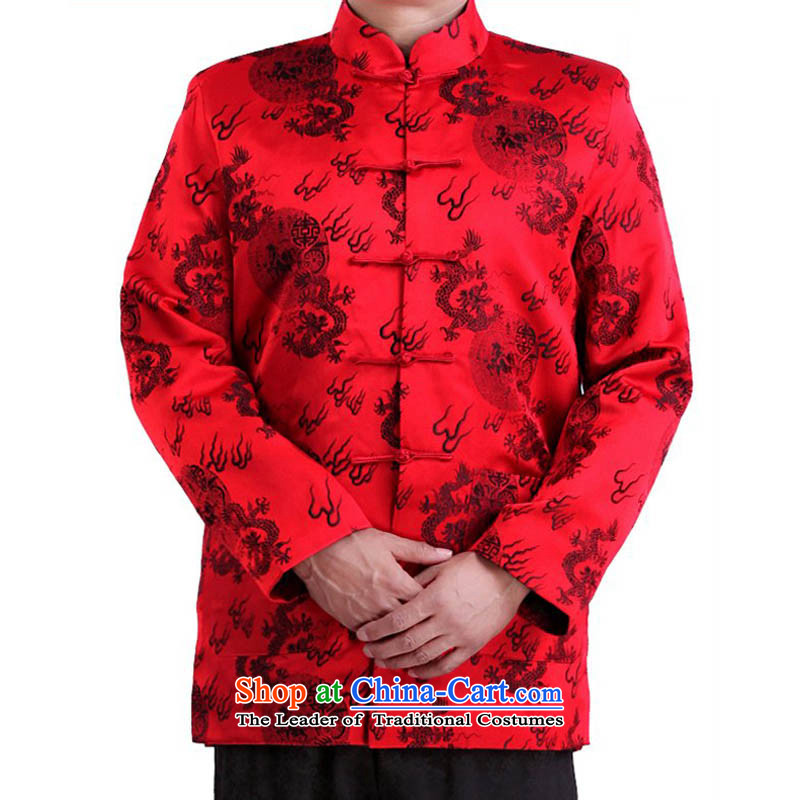 By order of the thre Bosnia and, in particular, the Recommended China Wind Fire Dragon Chinese elderly in long-sleeve sweater autumn and winter jackets father load Tang F1102 red winter)�XL/180