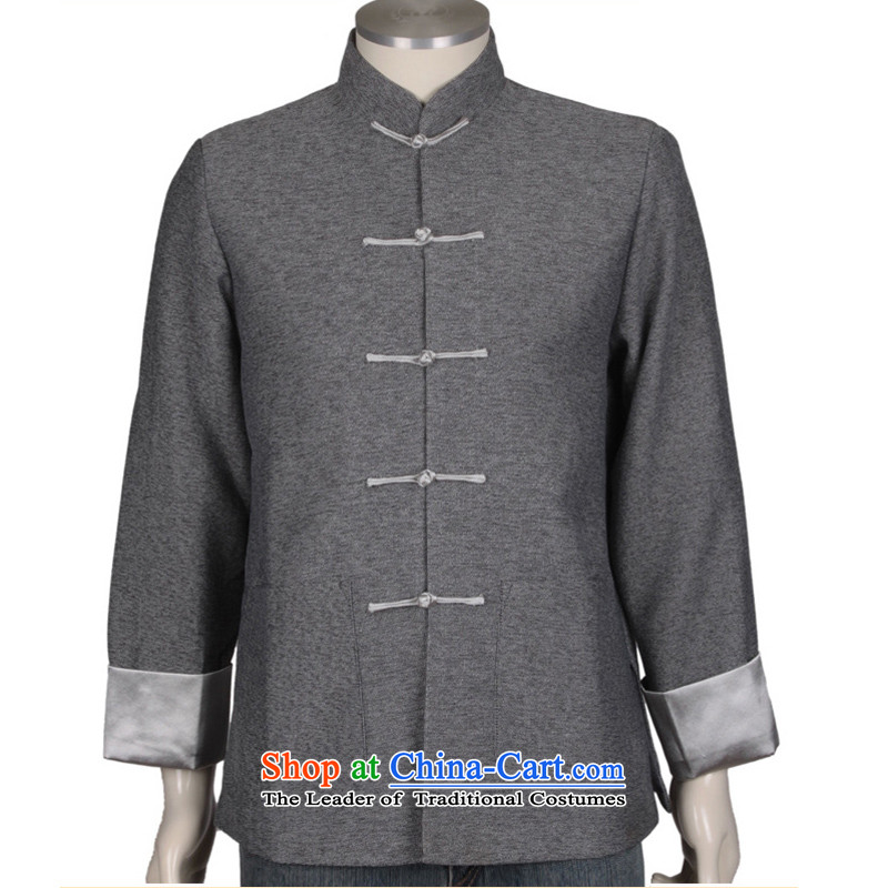 Thre line men and the spring and autumn cotton linen long-sleeved Tang Dynasty New Men's Mock-Neck Leisure Tang Gown of ethnic Pure Color hooks up collar older Tang dynasty F0308燤_170 Gray