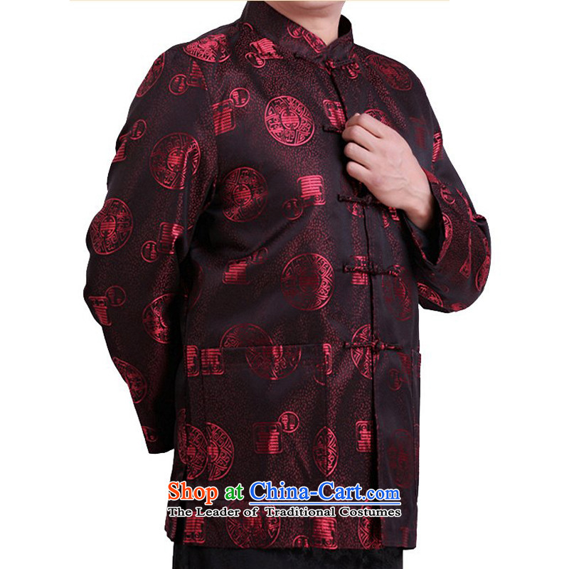 Thre line of autumn and winter and new fu shou in Tang Dynasty Older long-sleeved top Chinese Men's Mock-Neck blouses national service men Tang hand-buttoned, red winter_ XL_180