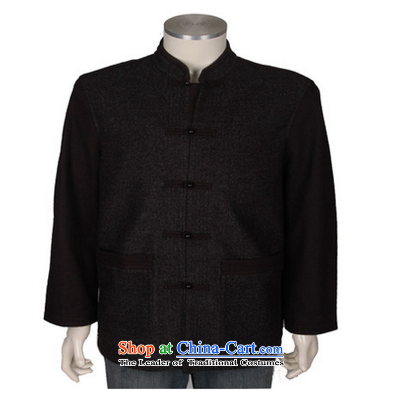?Upscale Chinese men's D-3018 ethnic collar wool Tang blouses from older Fall/Winter Collections business men with brown?XXL/185 Tang
