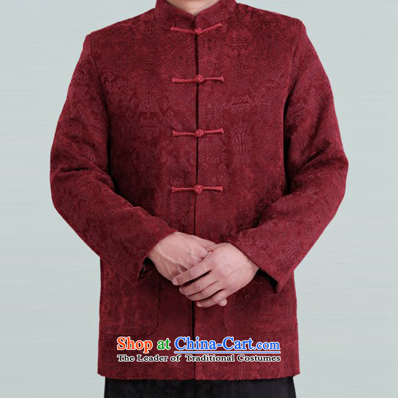 Bosnia and the elderly in the line thre Tang dynasty men loaded spring and autumn men's long-sleeved cotton Tang Dynasty Chinese red color coats of ethnic Chinese collar Tang blouses F1339?M/170 red