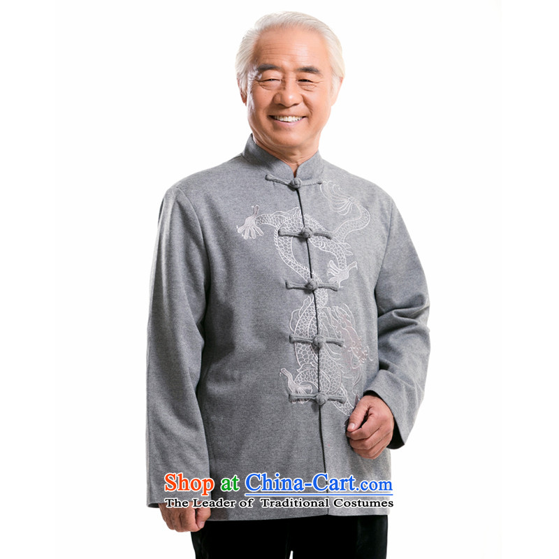 Thre line of ethnic Bosnia and embroidery collar long-sleeved Chinese dragon men in Spring and Autumn Chinese upscale jacket Tang dynasty older??XL/180 gray pixel cybershot