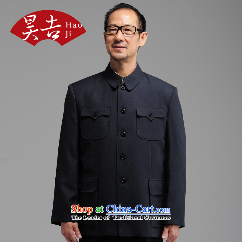 Ho Chi Fall/Winter Collections of new products in older men Chinese tunic kit older persons serving China wind Dad Zhong Shan Tang dynasty clothing?72(170) Dark Blue