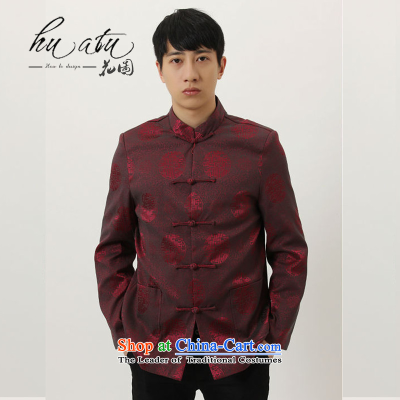 Floral men fall and winter new Tang blouses from older father replacing Tang dynasty collar silk dress Chinese long-sleeved men wine red聽XXL