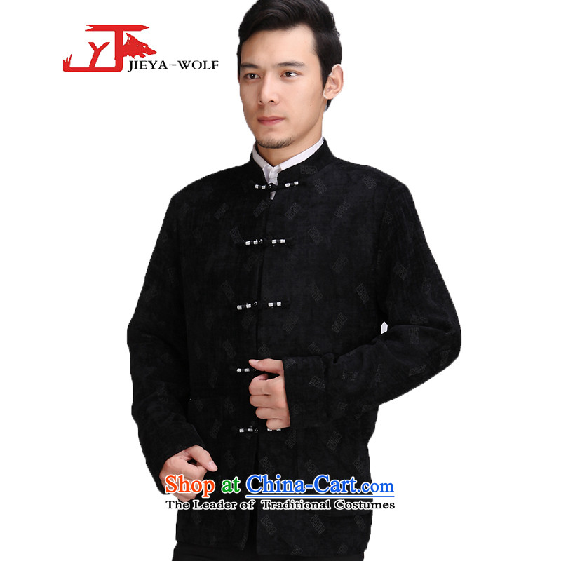 Tang Dynasty new JIEYA-WOLF2015 Long-sleeve men Tang jackets jacket male Tang dynasty autumn and winter thin cotton聽165_S black