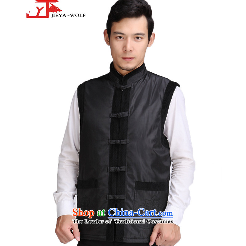 - Wolf JIEYA-WOLF, New Tang dynasty men's vest jacket, autumn and winter thin cotton men of black?175_L