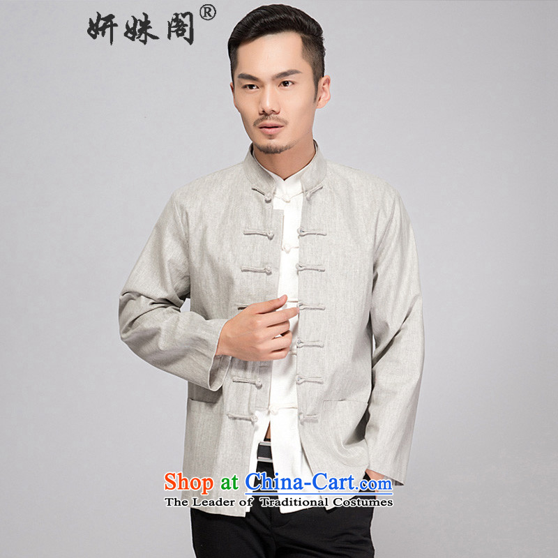 Charlene Choi this cabinet reshuffle is older men fall cotton linen Tang dynasty long-sleeved fall inside men cotton linen Tang long-sleeved shirt with old folk weave cotton linen clothes - Old folk weave long-sleeved light gray?2XL