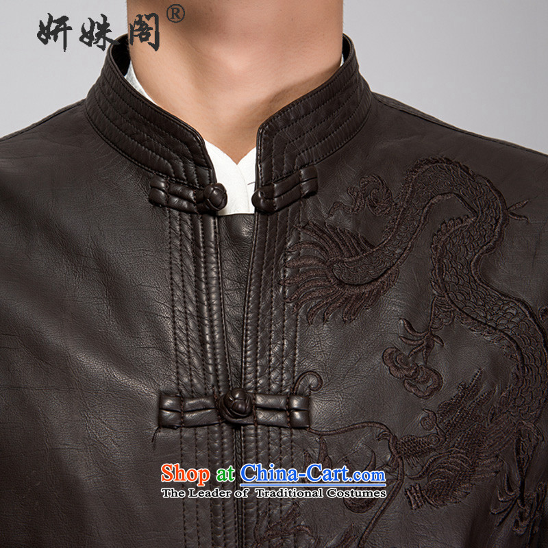 This new cabinet yeon middle-aged men Fall/Winter Collections washable leather warm coat embroidered dragon Windproof Jacket in long xl father shirt relaxd fit black single聽L, Charlene Choi in The Ascott , , , shopping on the Internet