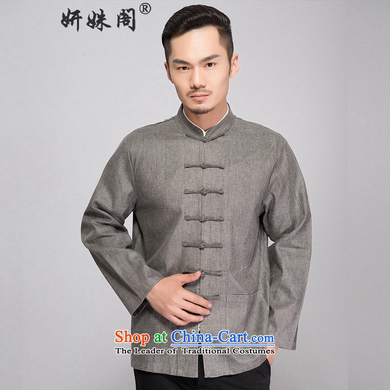This Spring and Autumn Pavilion Yeon cotton linen Tang dynasty long-sleeved autumn replacing men loose cotton linen Tang long-sleeved shirt with old folk weave cotton linen clothes - Old folk weave long-sleeved Dark Gray�L