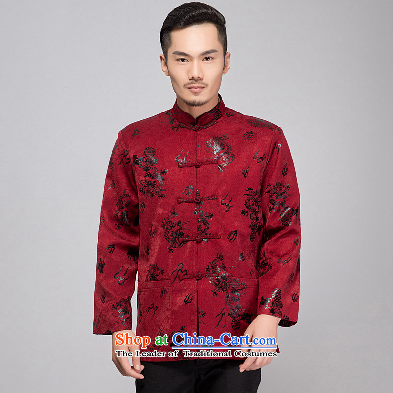 This Spring and Autumn Pavilion Yeon men casual shirt relaxd Tang larger father thin cotton coat buttoned, a mock-neck disc festive evening functions dress dragon red?L