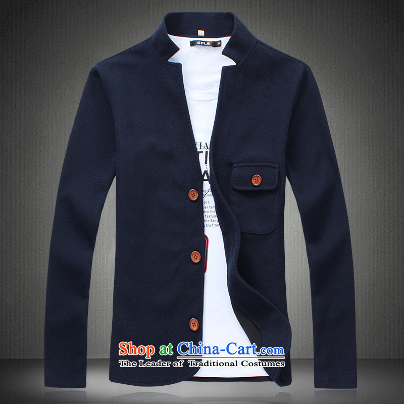 Syi?collar jacket, light jacket men fall inside Zhongshan collar jacket for larger XXXL FATTIES L2X4 men Zhongshan Tang Blue?M
