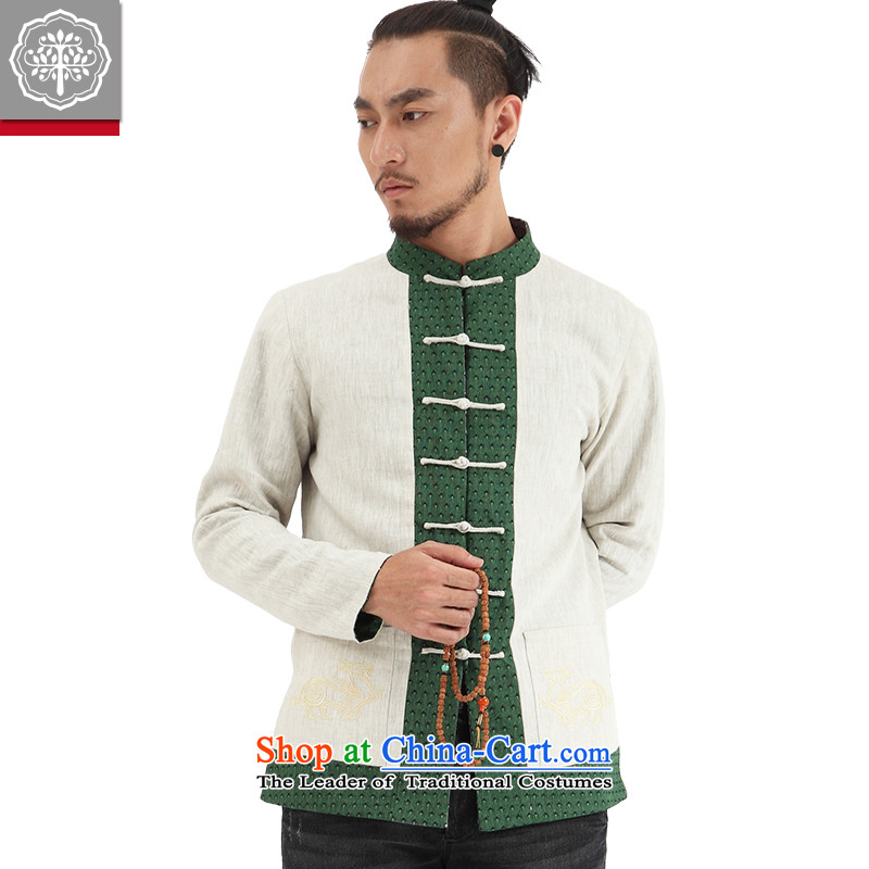 To tree limited edition China wind men Tang dynasty l men national costumes and both sides of the Chinese through off-white jacket movement