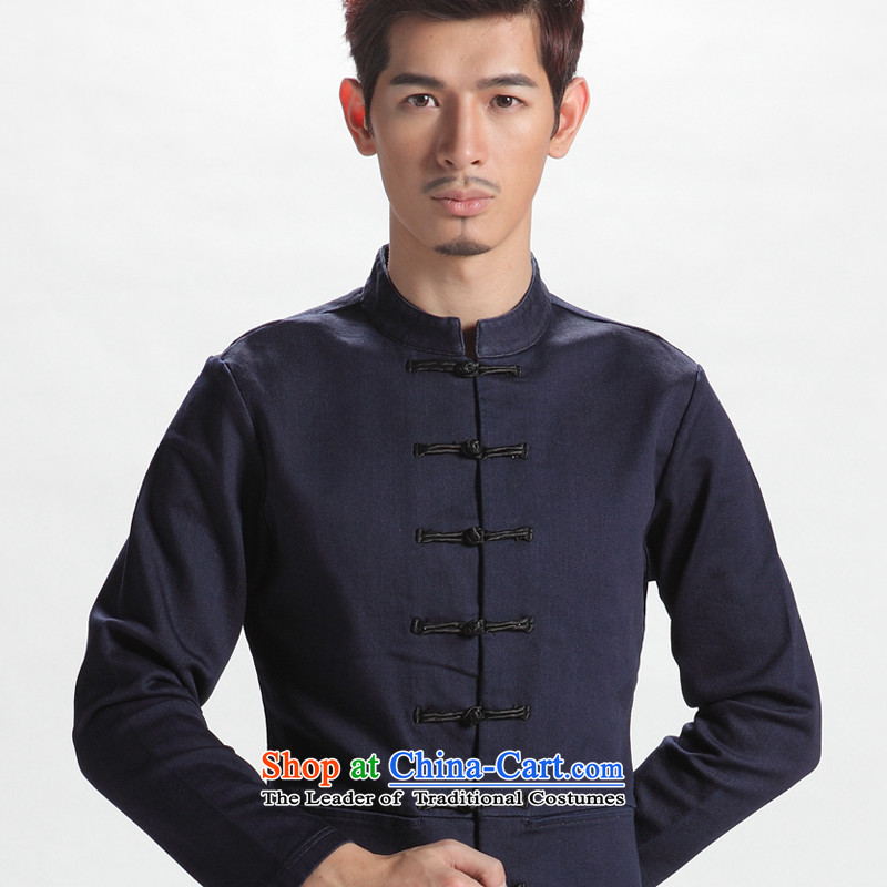 The sons and daughters of the oriental style China wind men long-sleeved Tang dynasty autumn improved Han-men and Chinese youth national costumes�170/92(L) Denim blue