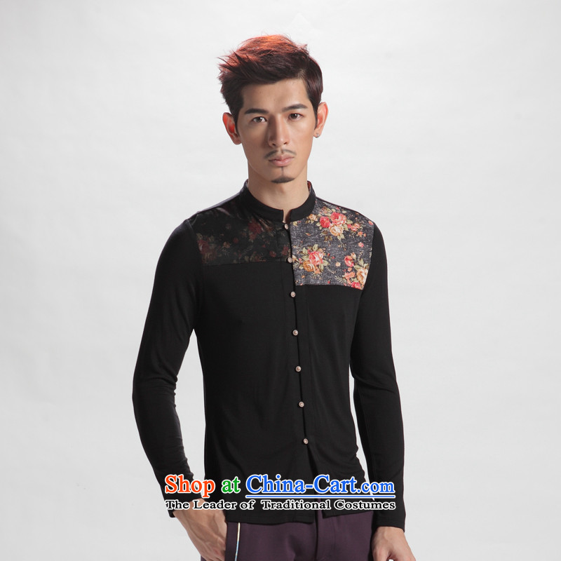 The fall of the sons and daughters of China Oriental jacquard long-sleeved men stylish Tang casual Chinese shirt and dark?190(XXXXL) national costumes