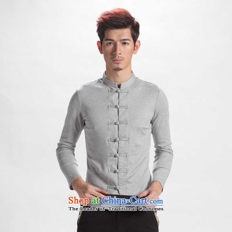 The sons and daughters of the oriental autumn youth recreation fashion China wind men long-sleeved Tang tray clip Chinese improved Han-men spend?190/110(XXXL) Gray Yarn