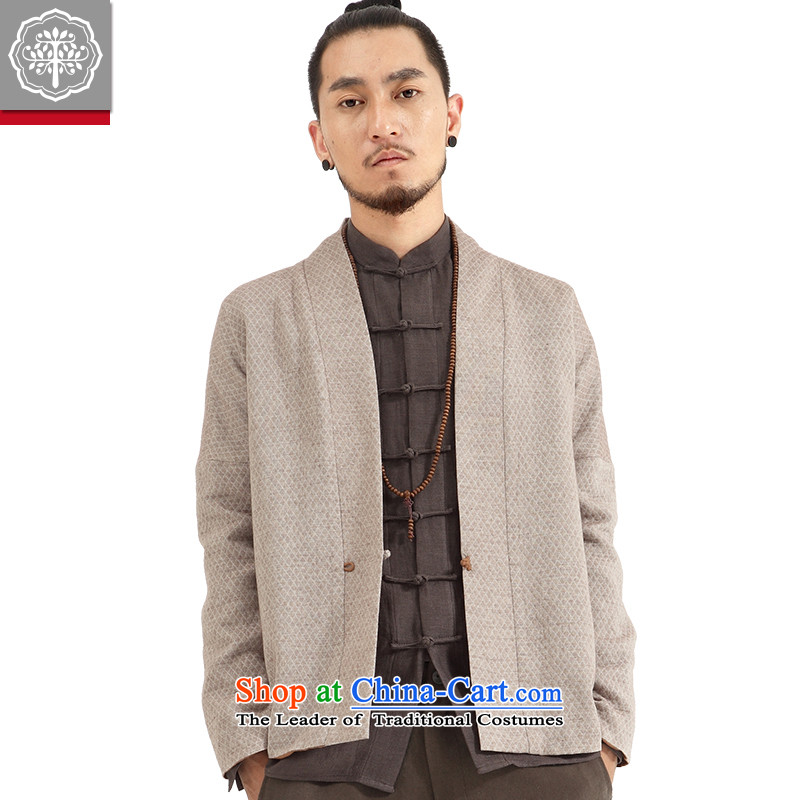 To Tree China wind men ball-Service Pack for long-sleeved men Tang Gown Han-Cardigan improved jacket Chinese Disc detained tea_aloeswood small _S