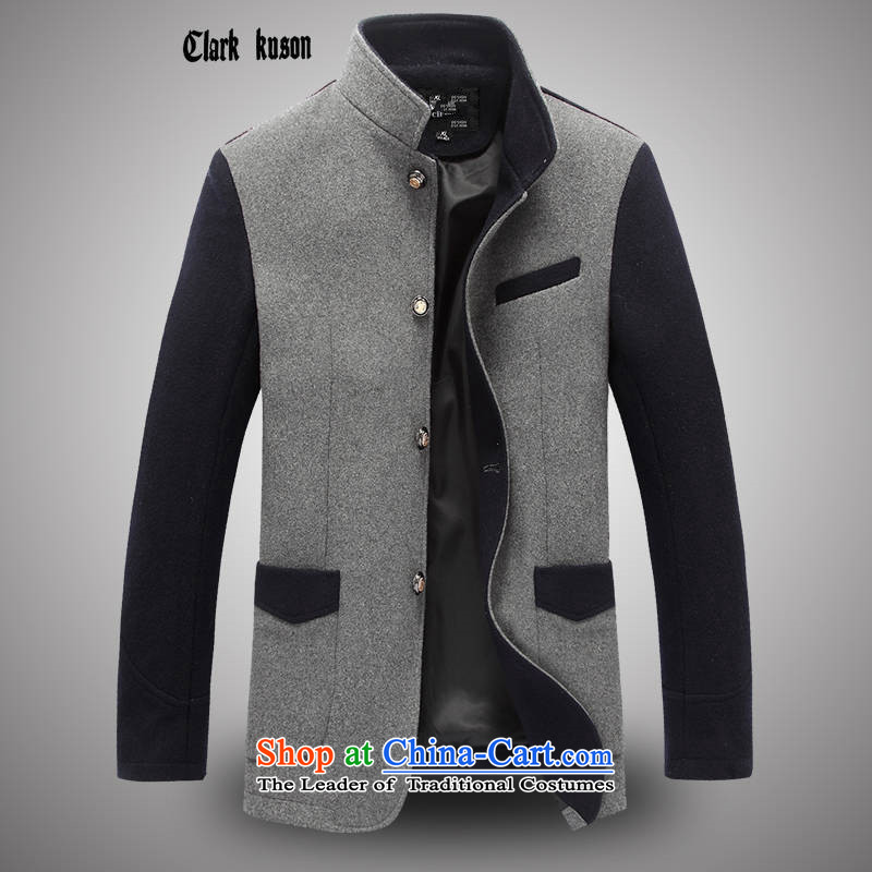 Winter men of clarkkuso2015 for stitching gross? a jacket coat Tang Dynasty Chinese tunic bridegroom accompanied by health wedding banquet at the blue-gray XL