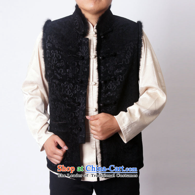 Sureyou men fall and winter leisure Tang dynasty thick emulation mink in chapter lint-free older vest Tang Gown, a Tang Dynasty national services promotion 1213 Black聽175